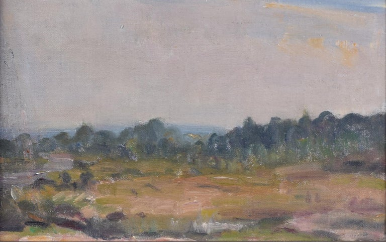 English Landscape Modern British Art Oil Painting River Forest 20th Century - Gray Landscape Painting by Unknown