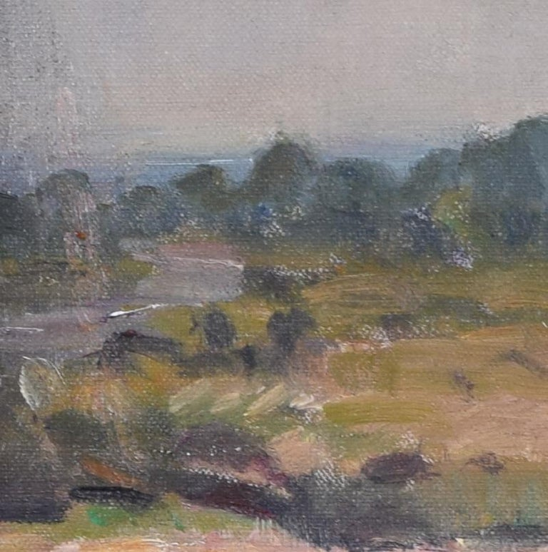 English Landscape Modern British Art Oil Painting River Forest 20th Century For Sale 1
