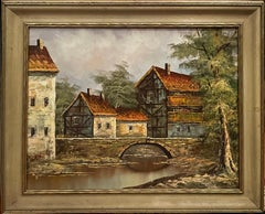 English Landscape / Villagescape Oil Painting by Terry Richmond