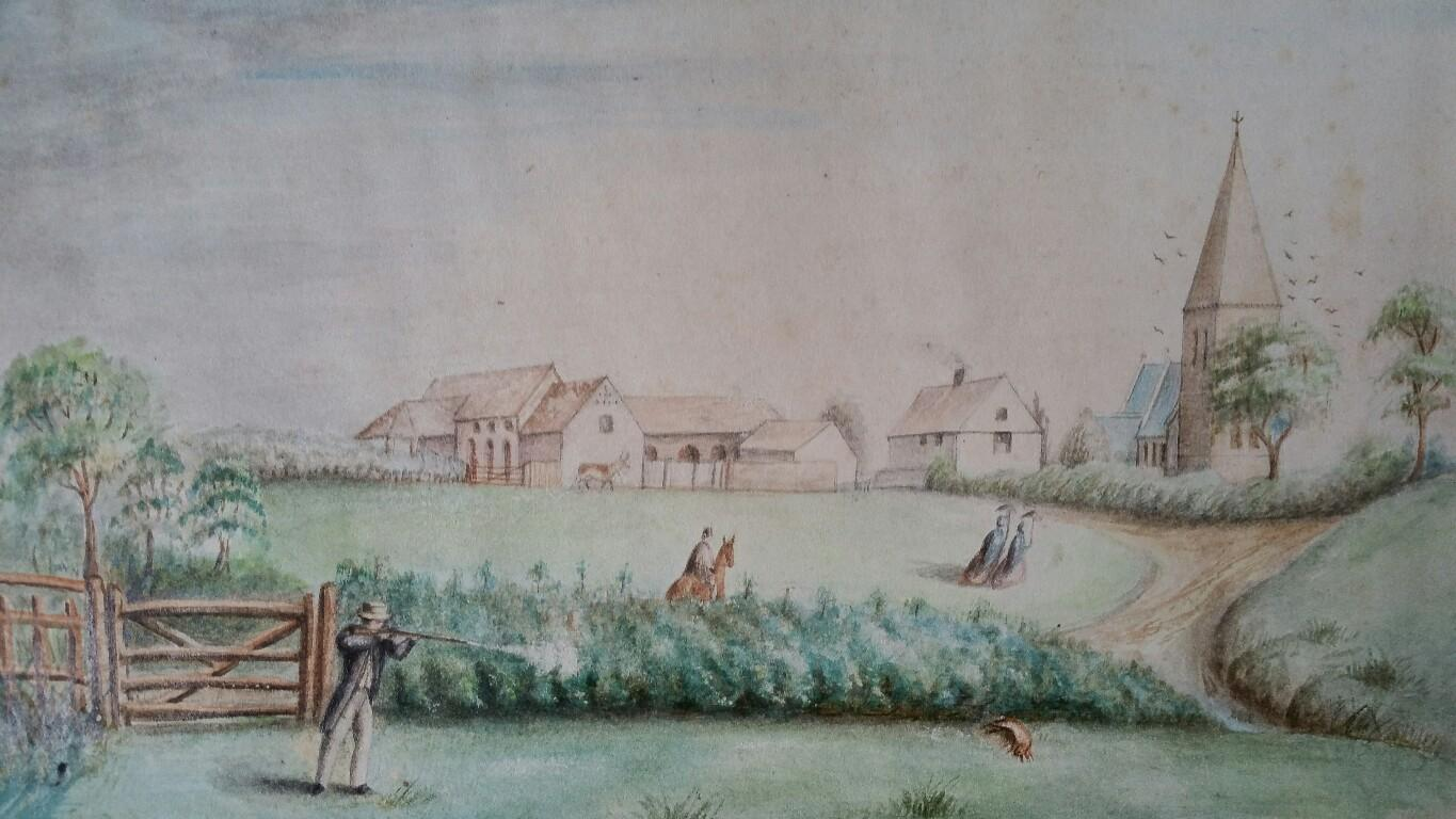 English Mid 19th Century Shooting Watercolour with Historical Notes