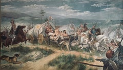 English or Continental History Picture of Nordic Conquest painted about 1900