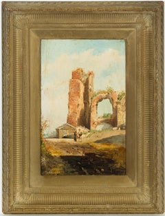 English School 19th Century Oil - Classical Ruin Landscape with Figures
