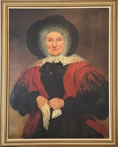 English School, c. 1830's Large Portrait of a Country Lady in Red Shawl