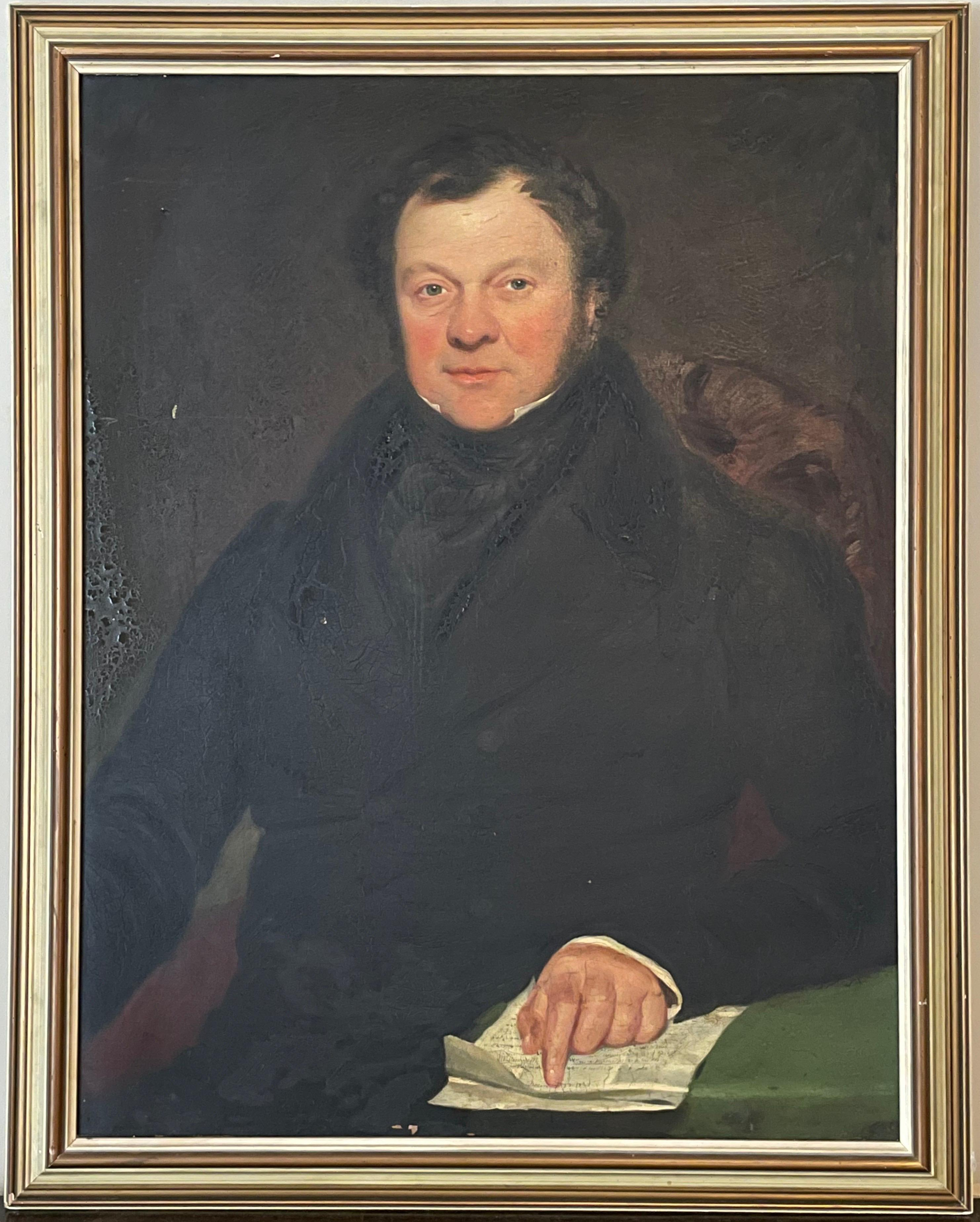English School, c. 1830's Large Portrait of a Country Squire in Leather Chair