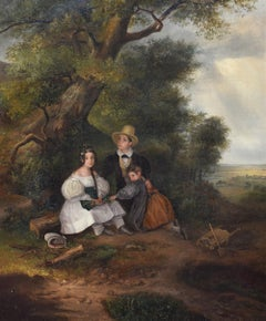 English School circa 1830, Children under the tree during a storm, Oil on canvas