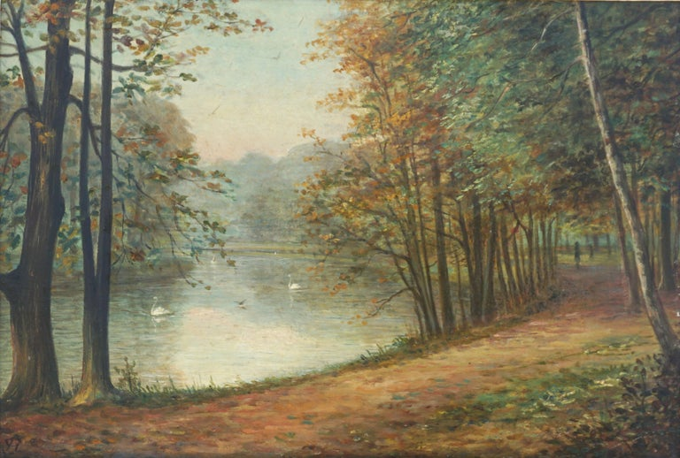 English School Swans in Park - Landscape - Painting by Unknown