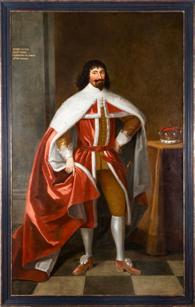 Enormous 17th Century British Portrait of Baron Lexington in Red Peers Robes  - Painting by Unknown