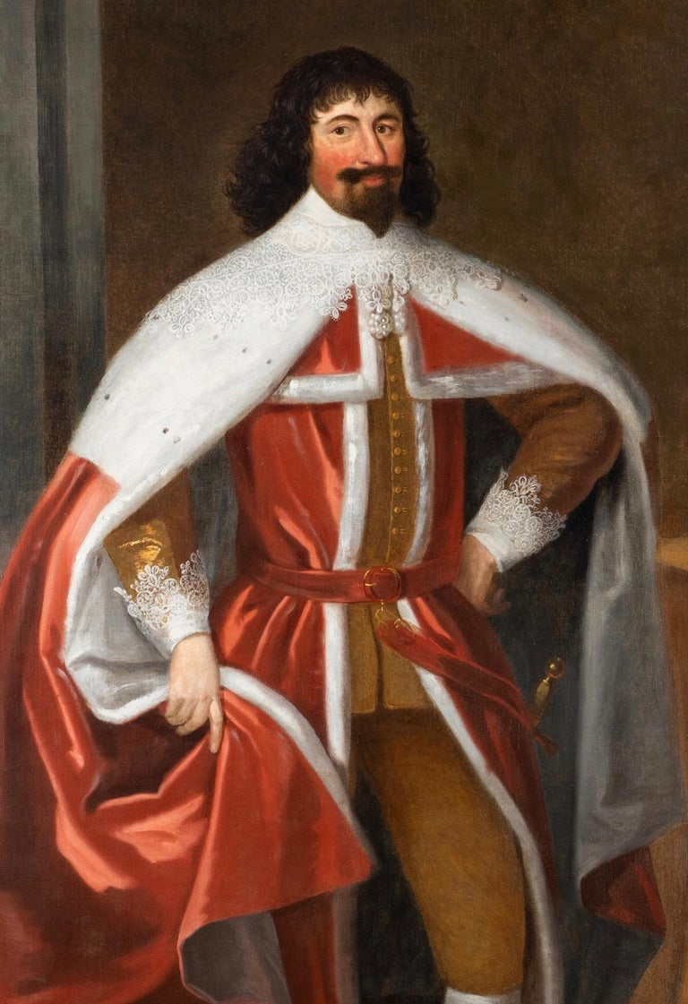 Enormous 17th Century British Portrait of Baron Lexington in Red Peers Robes  - Old Masters Painting by Unknown