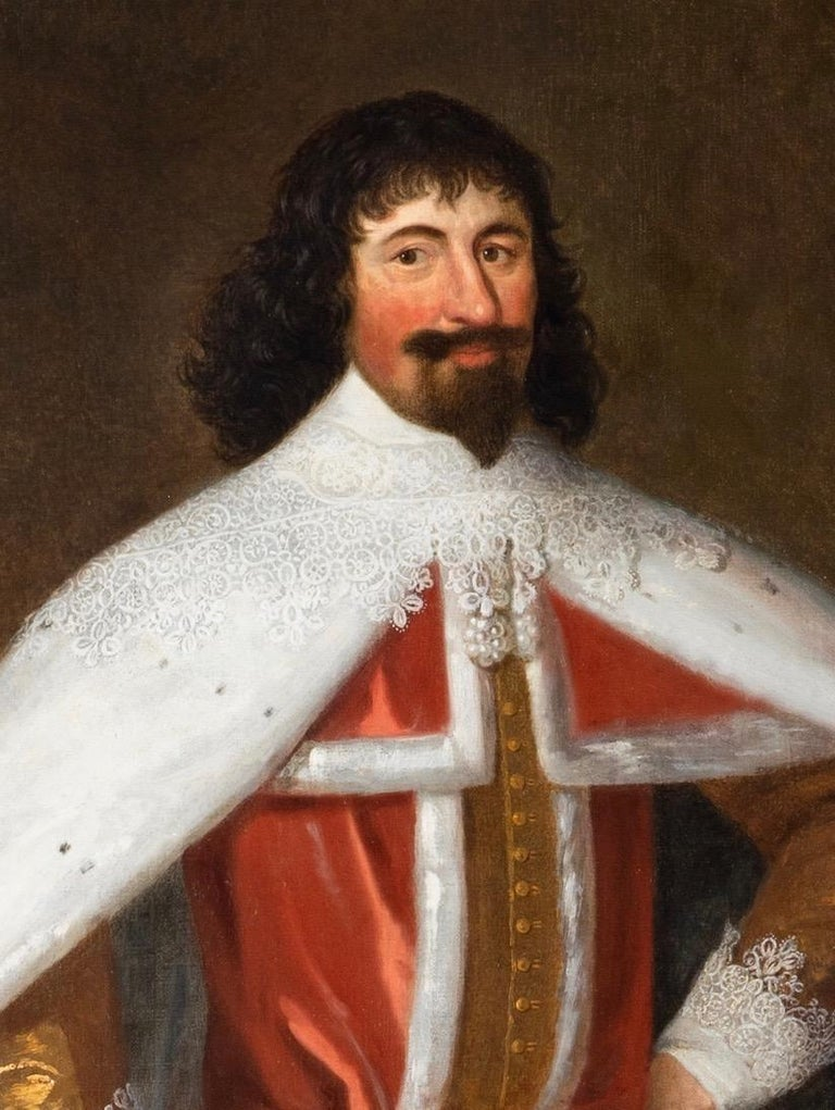 Enormous 17th Century British Portrait of Baron Lexington in Red Peers Robes  For Sale 1