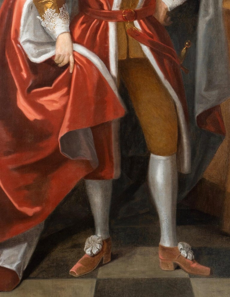 Enormous 17th Century British Portrait of Baron Lexington in Red Peers Robes  For Sale 2