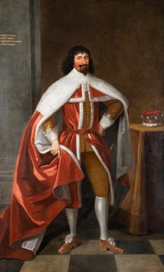 Enormous 17th Century British Portrait of Baron Lexington in Red Peers Robes