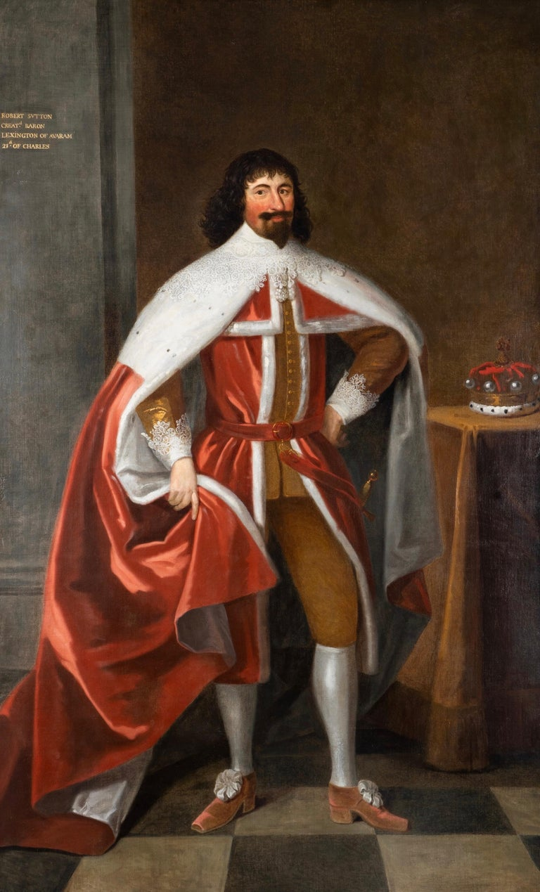 Unknown Interior Painting - Enormous 17th Century British Portrait of Baron Lexington in Red Peers Robes