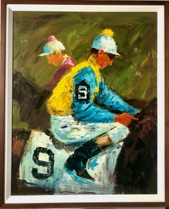 Equestrian Oil Painting Jockey on Horseback at Horse race American Impressionist