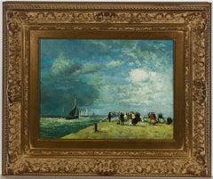 E.T.N. - Framed Mid 20th Century Oil, Stormy Farewell