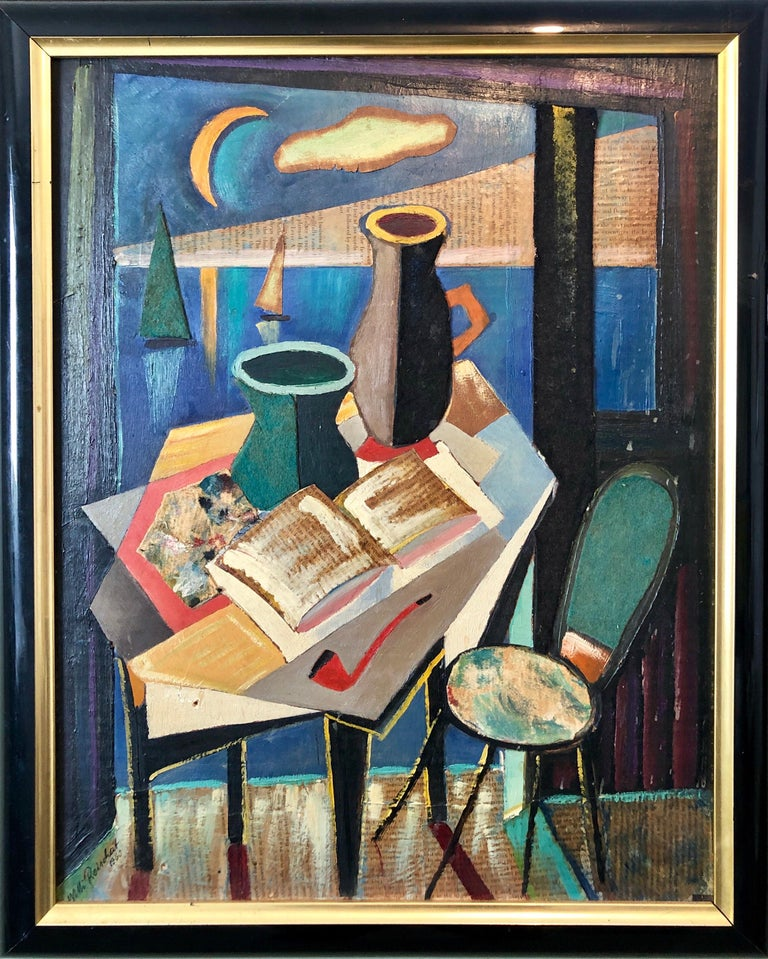 e8686b8720a67 European Collage Cubist Oil Painting 1960 Surrealist Interior with Vase and  Pipe