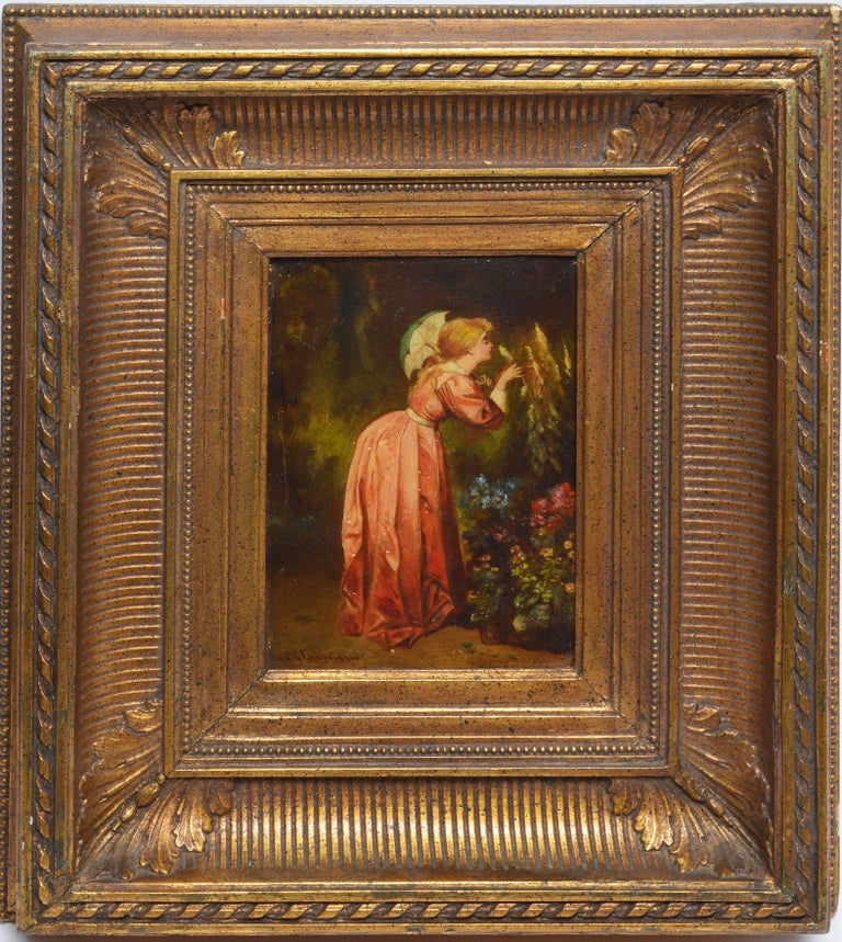 European School Portrait of a Woman, Smelling the Flowers