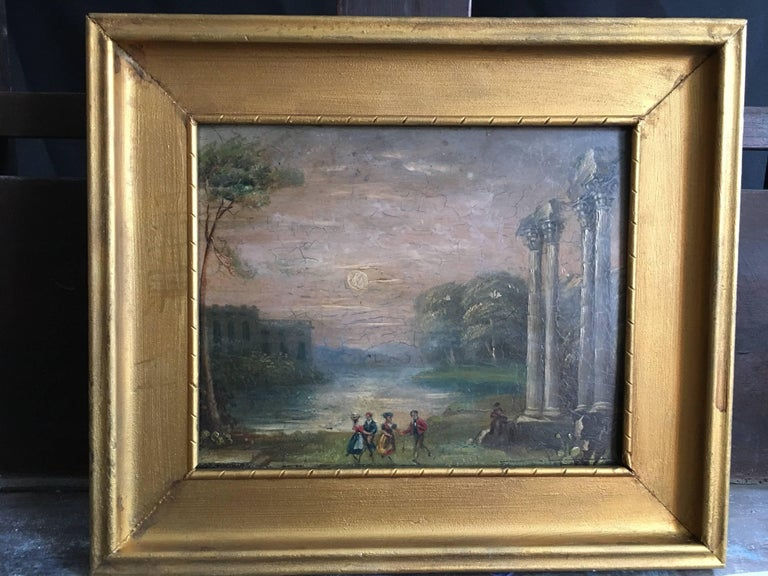 Evening Dance Classical Roman Ruins, Antique Oil - Painting by Unknown