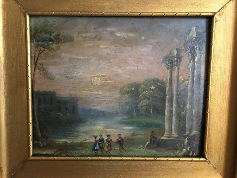 Evening Dance Classical Roman Ruins, Antique Oil - Gray Landscape Painting by Unknown