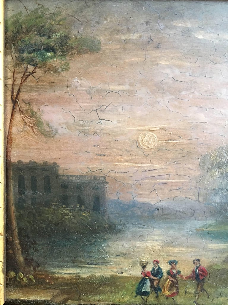 Evening Play Italian School, mid 19th Century Oil painting on board, framed Framed size: 11.5 x 13 inches  Lovely antique oil painting of some children playing in the evening within the impressive grounds of ancient classical Roman ruins.  The low