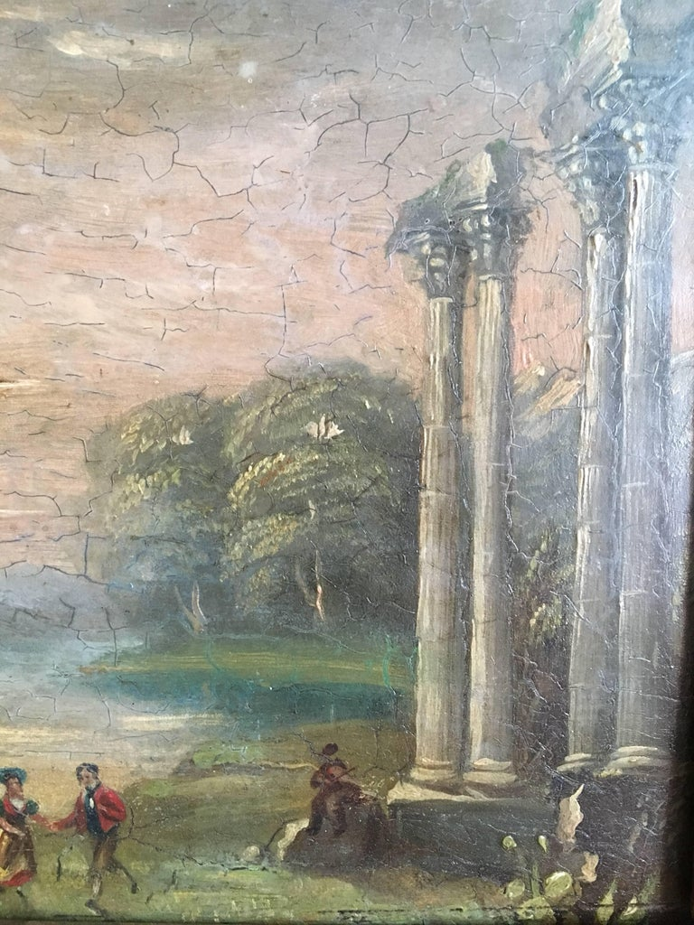 Evening Dance Classical Roman Ruins, Antique Oil For Sale 1