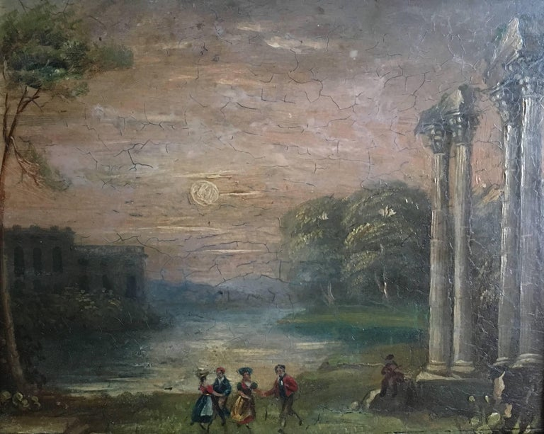 Unknown Landscape Painting - Evening Dance Classical Roman Ruins, Antique Oil