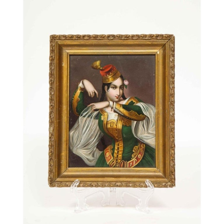 Exceptional Quality Miniature Painting of an Orientalist Turkish Dancer, 1860 For Sale 1