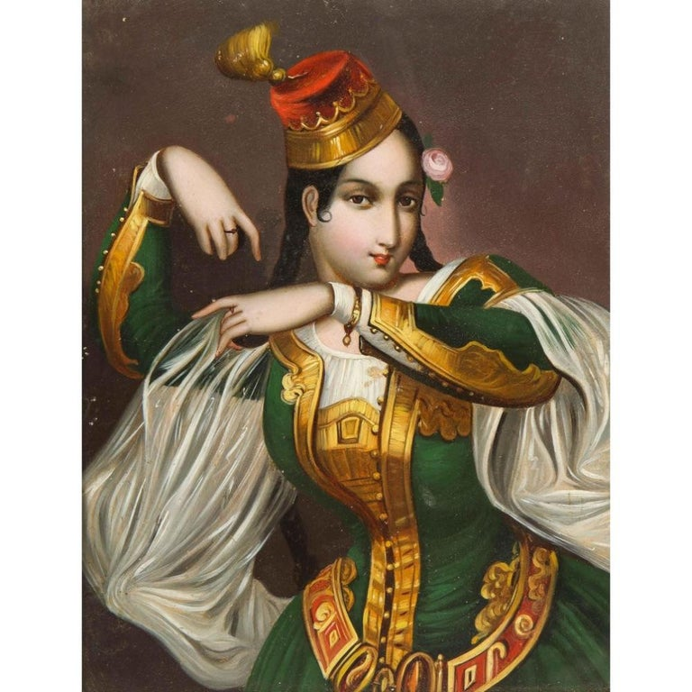 Exceptional Quality Miniature Painting of an Orientalist Turkish Dancer, 1860 For Sale 2
