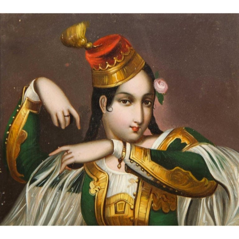 Exceptional Quality Miniature Painting of an Orientalist Turkish Dancer, 1860 For Sale 3