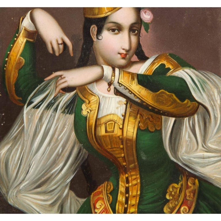 Exceptional Quality Miniature Painting of an Orientalist Turkish Dancer, 1860 For Sale 4