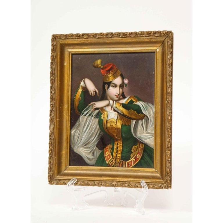 Exceptional Quality Miniature Painting of an Orientalist Turkish Dancer, 1860 For Sale 6