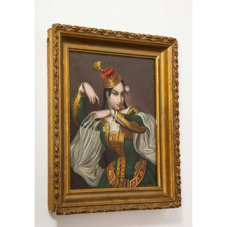 Exceptional Quality Miniature Painting of an Orientalist Turkish Dancer, 1860 For Sale 8