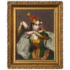Exceptional Quality Miniature Painting of an Orientalist Turkish Dancer, 1860