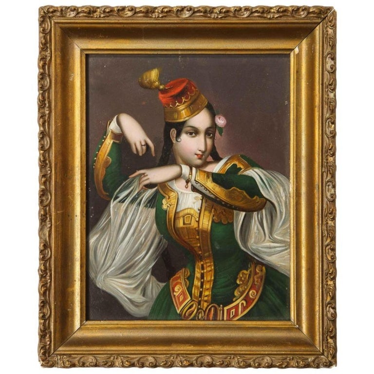 "An exceptional quality miniature painting of an orientalist dancer, 19th century, circa 1860    Depicting an orientalist Turkish dancer in green attire with her hat in original giltwood frame.    Painted on panel.     Panel size: 6.5"" high x 5"" wide"