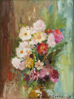 Explosion of Flowers - Oil on Panel by Italian Artist Early 20th Century