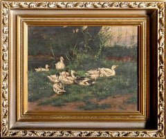 Family of Ducks, Oil Painting