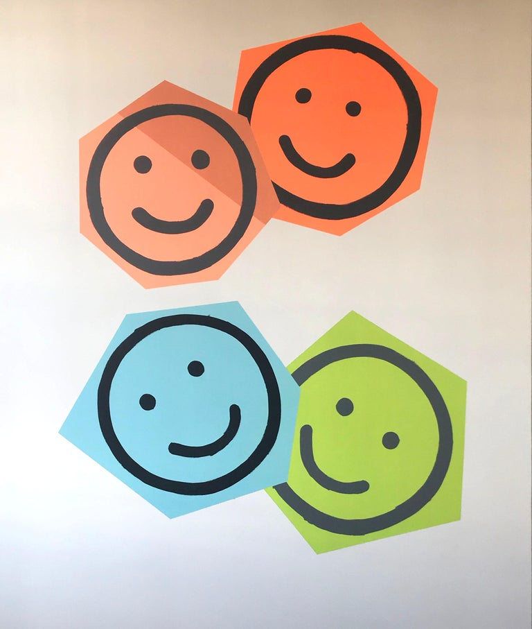 Family Portrait #5, Smile, Smiley Faces, Emoji, Shapes, Painting, Large, Happy - Gray Abstract Painting by Matthew Heller