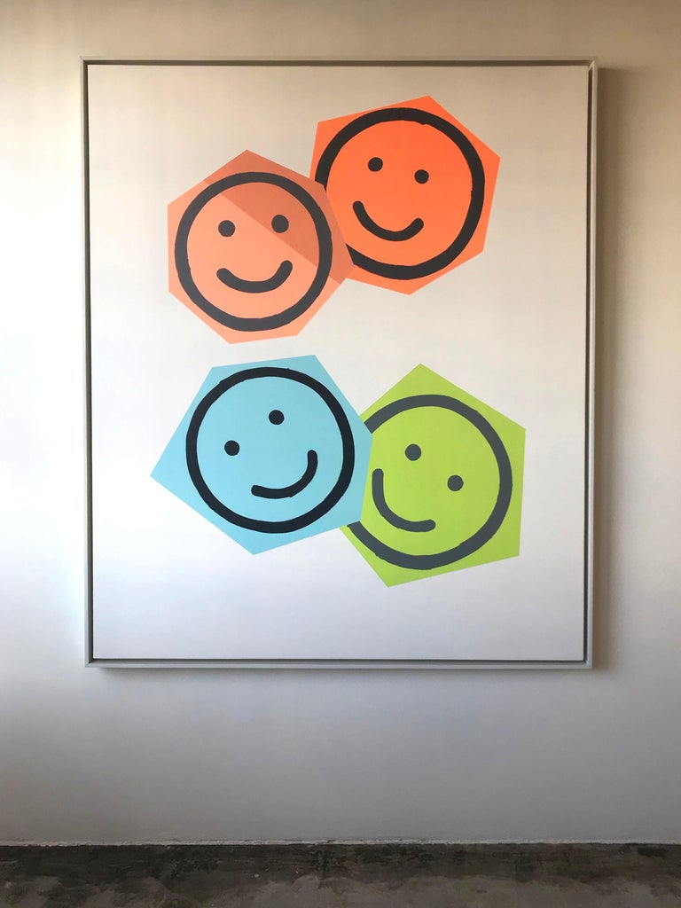 Matthew Heller Abstract Painting - Family Portrait #5, Smile, Smiley Faces, Emoji, Shapes, Painting, Large, Happy
