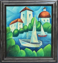 Fauvist Modern Landscape with Sailboats