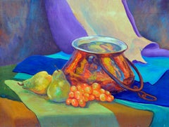 Fauvist Pears & Grapes & Copper Pot Still Life