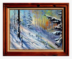 Fauvist Winter Pines Landscape