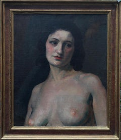 Female Nude portrait - French 1920 Nude portrait oil painting