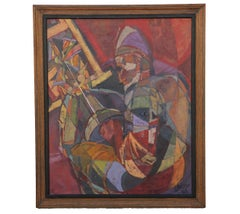 Figurative Impressionist Painting of a Jousting Knight