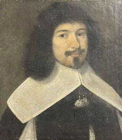 FINE 17TH CENTURY FRENCH OLD MASTER OIL PAINTING - PORTRAIT OF GENTLEMAN