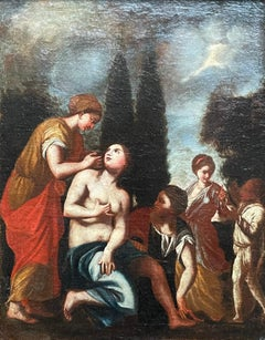 FINE 17TH CENTURY ITALIAN OLD MASTER OIL ON CANVAS - THE BATHING OF BATHSHEBA