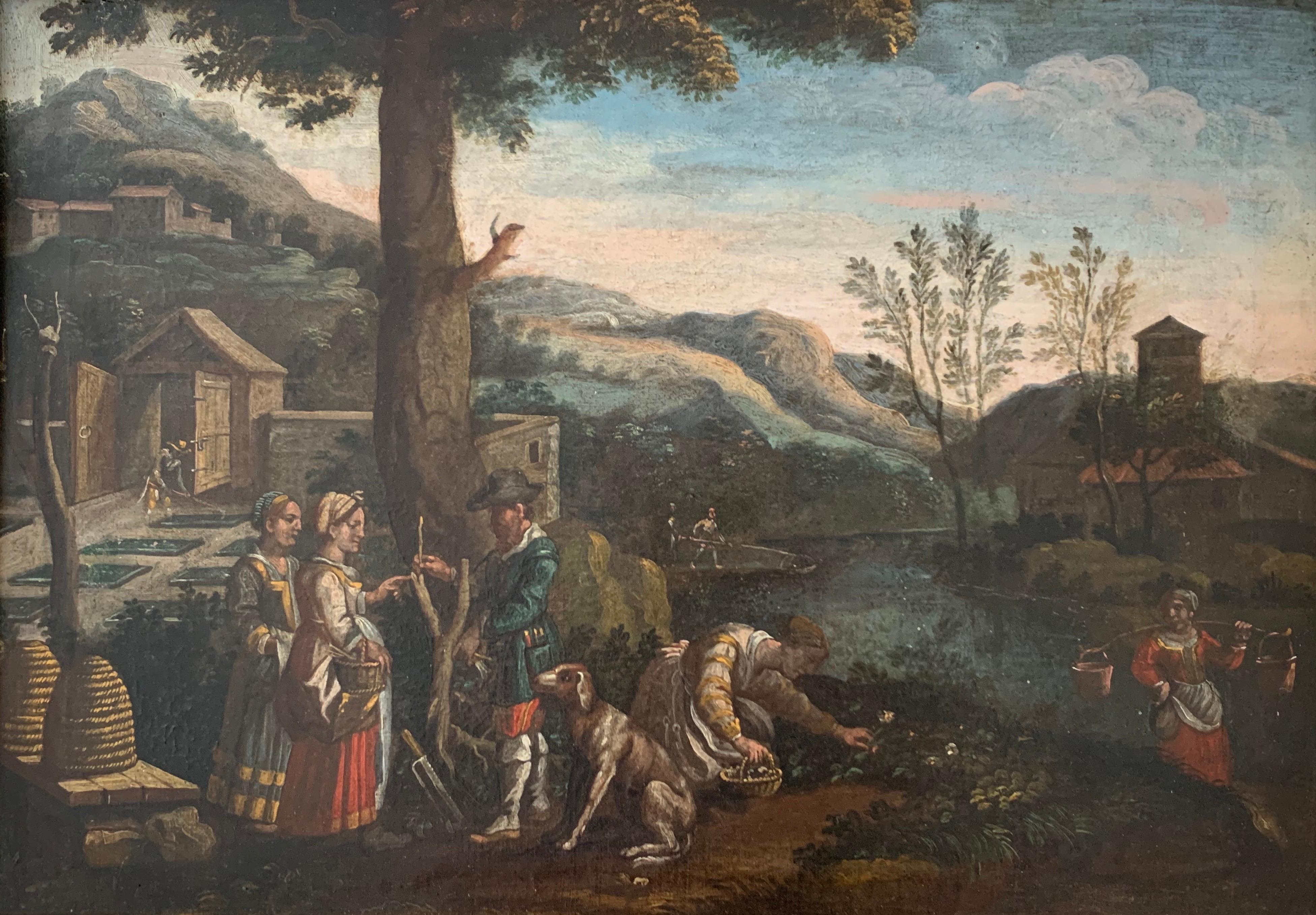 FINE 17th CENTURY ITALIAN OLD MASTER OIL PAINTING - FIGURES GARDENING LANDSCAPE