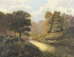FINE 1850'S ENGLISH OIL - GENTLEMAN ANGLER ON RIVER BANK PASTORAL LANDSCAPE