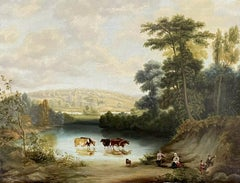 FINE 1850'S ENGLISH OIL - TRANQUIL LAKELAND LANDSCAPE CATTLE WATERING & FIGURES