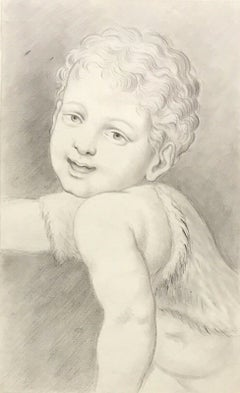 FINE 18TH/ 19TH CENTURY ITALIAN OLD MASTER DRAWING - HEAD PORTRAIT OF CHILD