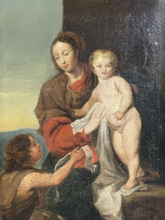 FINE 18th CENTURY FRENCH OLD MASTER OIL PAINTING - THE MADONNA & CHILD, ST. JOHN