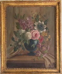 FINE 19TH CENTURY FRENCH OIL PAINTING - CLASSICAL STILL LIFE FLOWERS IN URN